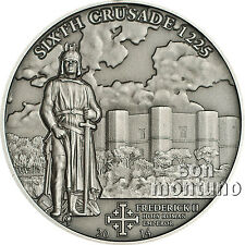 6th Crusade - FREDERICK II - Antique Finish Silver Coin 2014 Cook Islands