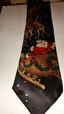 Santa with Sleigh and Reindeer Holiday Traditrions Mens Neck Tie 100% Silk