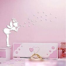 New 3D Magic Angel Fairy & Stars Mirror Wall Decals Sticker Home Bedroom Decor S