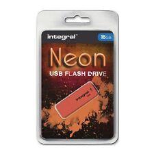 Integral De 16 Gb Neon Usb Stick-En Color Naranja.