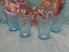 VINTAGE Inspired BLUE Easter BUNNY SPRING Knobby Drinking Glasses SET 4 NEW