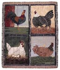 Mister Rooster And The Girls Tapestry Throw Blanket 100% Cotton Made In USA