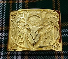 Men's Kilt Belt Buckle Black Stag Head Gold/highland Kilt Belt Buckles Stag Head