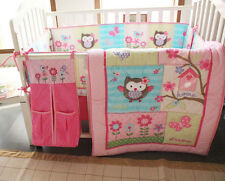 New Baby Girls Pink Nursery Bedding Set 8PCS Crib/Cot Accessories Cute Owl Quilt