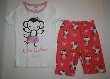 New Crazy 8 Gymboree Love to Dance Monkey Ballerina PJs 2 piece 4 year NWT short