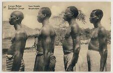 Belgisch Congo BANGALA MÄNNER / MEN w SCAR TATTOO Africa * PK-Ganzsache um 1920