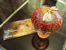 Neo Art Glass iridescent handmade red mushroom silver dragonfly signed K.heaton