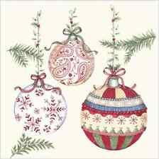Natale 20 Carta Pranzo Tovaglioli Crochet palline di vetro COLORI PASTELLO INVERNO NINNOLI/D