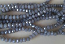 100 GLASS RONDELLE BEADS 3mm Round ~ Electroplated Grey - VERY SMALL
