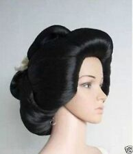 Hot sell New Black Geisha Wig Full Wigs Plate Hair Anime Wig Cosplay  Wig net AA