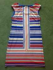 LONDON TIMES Womens Size 10 Sleeveless Retro Mod Striped Tank Sheath Dress