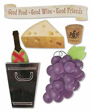 Karen Foster WINERY Stacked Stickers scrapbooking GRAPES CHEESE CORK BOTTLE