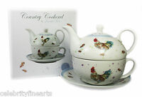 Country Cockerel Fine China Afternoon Tea For One Set Teapot Cup Saucer Leonardo