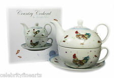 Cockerel Fine China Afternoon Tea For One Set Teapot Cup Saucer Leonardo Present