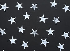 White Stars Print on Black French Terry Knit Fabric by the Yard 6/16