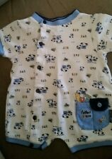 NWOT BOYS BABY GRAND BLUE WHITE TOOLS FATHER'S SON WITH SNAPS SZ 3 MONTHS