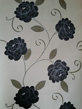 Puccini Range Black,Beige & Cream Wallpaper Flower floral Feature 5566 Debona x