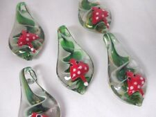 MUSHROOM Pendants lot of 5 Jumbo Glass Lampwork SHROOMS WHOLESALE NEW Trippy
