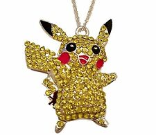 "Pokemon PIKACHU Rhinestone Pendant Necklace with 16"" Chain"