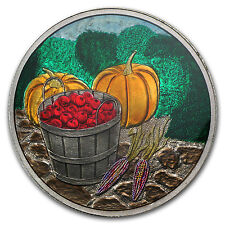 1 oz Harvest Enameled Silver Round - with Gift Packaging