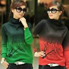 Women Branch Print Turtleneck Sweater Gradient Color Long Sleeve Pullover Tops