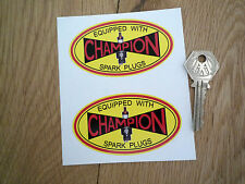 "CHAMPION Spark Plugs Pre-War Style Oval Car STICKERS 3.5""Pair Offy HWM Bike Race"