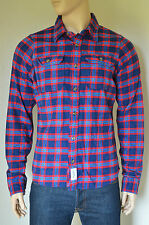 NEW Abercrombie & Fitch Lake Harris Flannel Shirt Navy Blue & Red Plaid XL