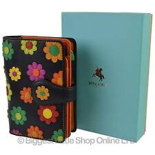 NEW Ladies LEATHER Medium Flower Design Tabbed PURSE Wallet Visconti Daisy GIFT