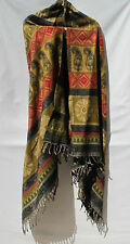 Yak Wool Shawl/Throw - Handloomed in Nepal-Reversible-Gold/Red/Black/Beige/Green