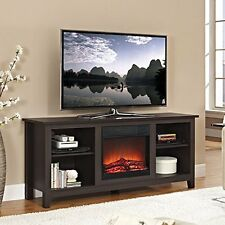 Electric Fireplace Flat TV Stand Media Console Entertainment Center Cabinet Wood