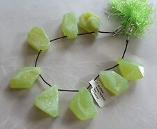 8 Natural Green Agate Crystal Druzy Gemstone Large Briolette Pendant Beads