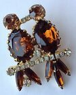 VINTAGE JULIANA TOPAZ AND CLEAR RHINESTONE FIGURAL LOVE BID BROOCH