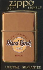 "Hard Rock Cafe BERLIN Gold ZIPPO Lighter NEW w/ Red Sticker & Box ""STP"" HRC LOGO"