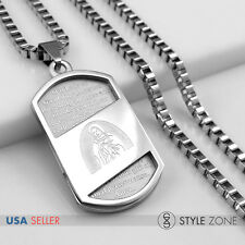Stainless Steel Scriptures VIRGIN MARY Dog Tag Pendant Box Necklace Silver 13H