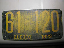 Quebec License Plates 1923 Fiberboard