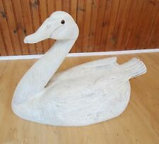 Beautiful Vintage Hand Carved wooden Swan decoy  signed & numbered w/ glass eyes