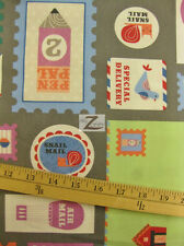 "MAIL HANDLE WITH CARE GRAY BY ROBERT KAUFMAN 100% COTTON FABRIC 45"" WIDTH FH-669"