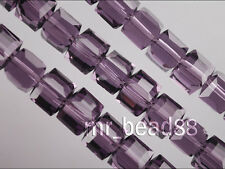 Bulk Lots 20ps Violet Crystal Glass Faceted Cube Beads Spacer Finding 6mm Charms