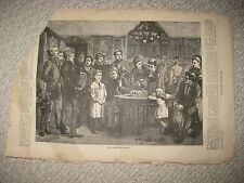 ANTIQUE 1872 HARPERS WEEKLY VICTORIAN CHRISTMAS ART PRINT CELLO MUSIC RARE NR