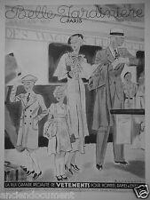 PUBLICITÉ 1935 BELLE JARDINIÈRE VÊTEMENTS HOMMES DAMES ENFANTS - PONT-NEUF PARIS