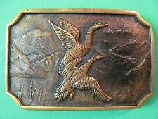 Vintage Flying Geese Ducks Belt Buckle BTS Solid Brass Hunting Wildlife.