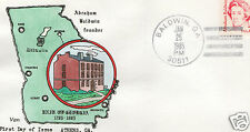 VAN NATTA ABRAHAM BALDWIN UNIVERSITY OF GEORGIA HAND PAINTED FIRST DAY COVER FDC