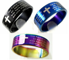 100pcs English Lord's prayer Stainless Steel Rings Wholesale Fashion Jewelry Lot