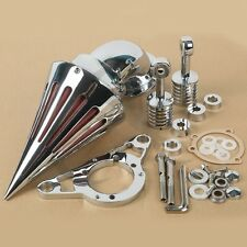 Chrome Spike Air Cleaner Intake Filter Kit For Harley Softail Fat Boy Road King