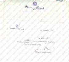 1989 ROMA Giulio ANDREOTTI ricambia gli auguri di Natale *Biglietto autografo