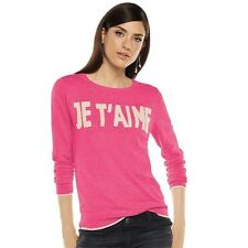 ELLE Women Pink JE TAIME Long Sleeve Crew Pullover Novelty Sweater Size XS 2 NWT