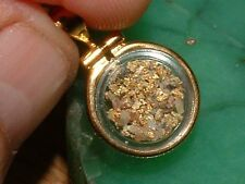 GOLD NUGGET JEWELRY .3 GRAM CALIFORNIA CRYSTALLINE GOLD QUARTZ 12KGF LOCKET