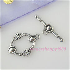 15Sets Tibetan Silver Tone Oval Connector Toggle Clasps for DIY Crafts