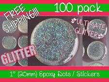 "100 PCS 1"" Inch ULTIMATE GLITTER Epoxy Dots / Stickers 25mm bottle cap 3D dome"
