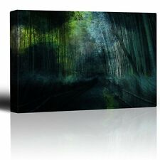 Blue and Green Watercolors Over a Bamboo Forest - Canvas Art Home Decor - 16x24